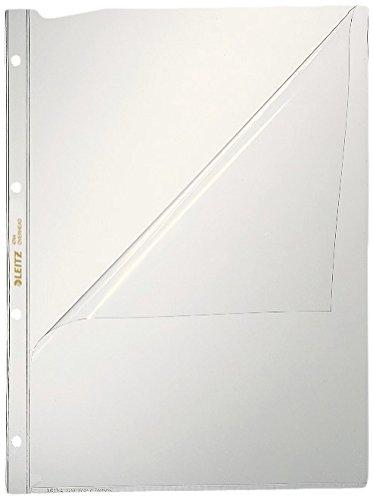 Leitz Präsentationshüllen-Set, 10 Stück, A4 Format, Glasklar mit glänzender Oberfläche, Öffnung oben und Lochseite, 0,08 mm PVC-Hartfolie, 47443000