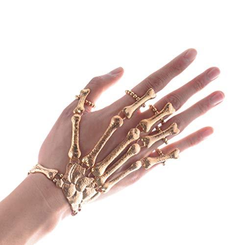 Happyyami Hand Chain Bracelet with Ring Metal Skeleton Bracelet Costume Jewelry for Halloween Cosplay