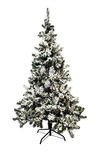 eacommerce Albero di Natale Innevato Floccato Rami in PVC Apertura ad Ombrello con Neve Artificiale (210 cm)
