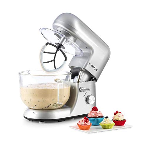 KLARSTEIN Bella Argentea 2g • Tilt-Head Stand Mixer • Dough Hook, Flat Beater, Wire Whip • 650 Watts • 1.1 HP • 5.5 q Glass Bowl • Planetary Mixing Action • 6 Speeds • Multifunctional • Silver
