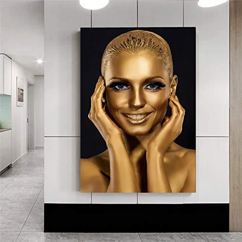 BailongXiao Ölgemäldeplakat der modernen goldenen afrikanischen Frau auf Leinwand skandinavische Wandkunst,Rahmenlose Malerei,30x45cm