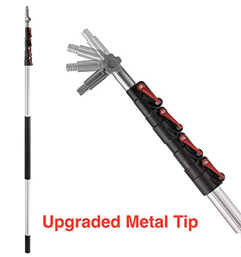 Extension Pole - 24 Foot Premium Telescopic Pole with Universal Multi-Angle Metal Threaded Tip