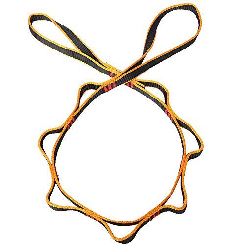 Alomejor Daisy Rope Chain Klettern Sicherheitsschlaufe Schlingenkette Yoga Extention Strap Camping Wandern Travel Backpacking(Gelb)