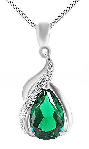 Jewel Zone US 3.5ct Simulated Green Emerald Pendant Necklace 14k White Gold Over Sterling Silver