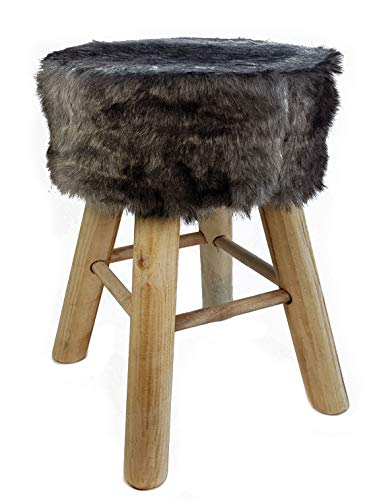 Spetebo Design Fell Hocker grau - Massiv Holz Sitzhocker - Polsterhocker Holzhocker rund