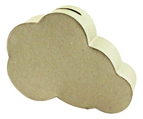 Decopatch–18,2x 13x 13,2cm Nube Hucha Papel Maché, Color marrón
