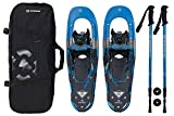 Winterial Back Trail Snowshoes 25 Inch Lightweight Aluminum Rolling Terrain Blue Snow Shoes with Carry Bag and Adjustable Poles