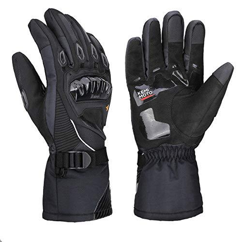 Warme Motorradhandschuhe Winter Radfahren Mountainbike Guantes Motocross Luvas Touchscreen Moto Handschuhe Herren Wasserdicht-Winter Gloves Black-1-XL