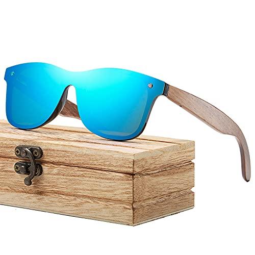 Gafas de sol de madera polarizadas   marco de madera fresca   caja de madera   para hombres y mujeres, color Azul, talla Talla única