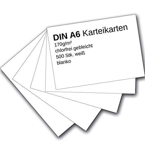 Karteikarten 500 Stück A6 weiß blanko