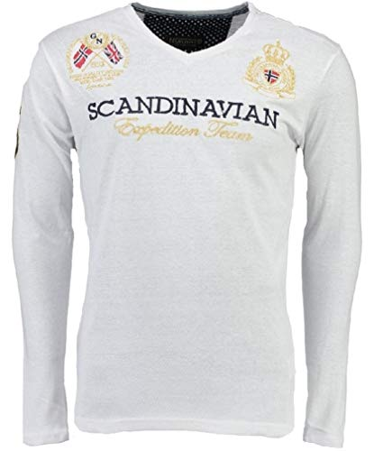 Geographical Norway Jevin LS Men Camiseta, Blanco (White), Medium para Hombre