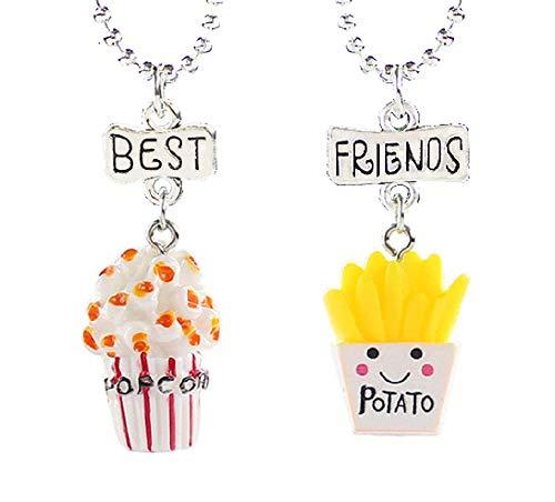 Lovelegis Due Collane da Bambina - Amicizia - Best Friends - Migliori Amiche per 2 - Kawaii X 2 - Popcorn - BFF - Coppia - Patatine - Cibo - Natale - Colore Multicolore