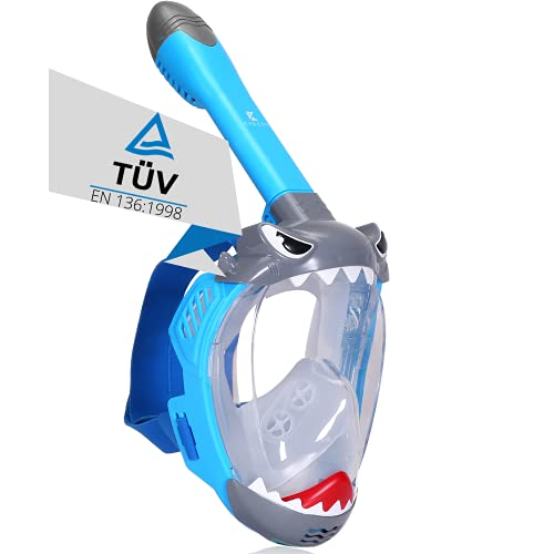 Khroom® TÜV geprüfte CO2 sichere Schnorchelmaske Vollmaske Modell 2021 -Tauchmaske für Kinder | Vollgesichtsmaske zum Schnorcheln