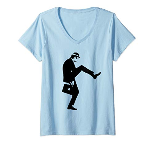 Damen The Ministry of Silly Walks Monty Shirt Python T-Shirt mit V-Ausschnitt