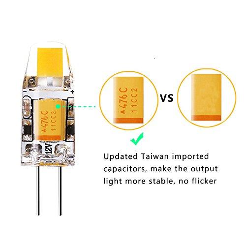 Yuiip No Flicker Led G4 Bulb Bi-Pin Base 2700K Warm White Light Bulb, Dustproof 12v 10W Halogen Replacement (2rd Generation Shockproof AC/DC Lamp) for Landscape RV 10 Pack