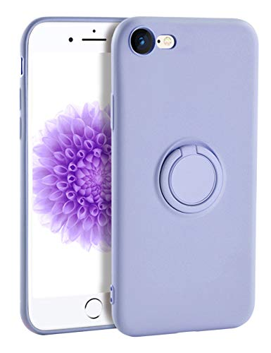 iPhone 8 Case Silicone,Yoopake iPhone 7 Cases for Girls Liquid Silicone Case with Ring Stand Holder Support Magnetic Car Mount Soft Slim Protective Phone Cover Case for iPhone 7 8,Lavender Purple