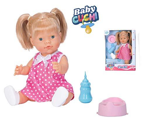 Falca CUCHI Pipi con Pelo. El muñeco blandito con Funciones, una Experiencia sensorial Adaptada a los más pequeños. Toma el biberón y Hace Pipi