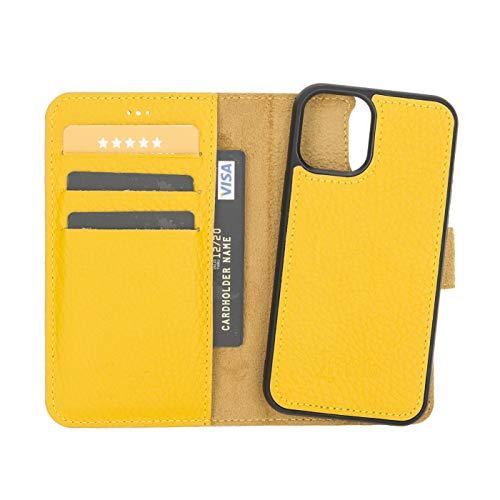 FREDO Funda de piel compatible con iPhone 12 Mini de 5,4 pulgadas, funda extraíble 2 en 1, incluye tarjetero, para Apple iPhone 12 de 5,4 pulgadas, con imán, color amarillo