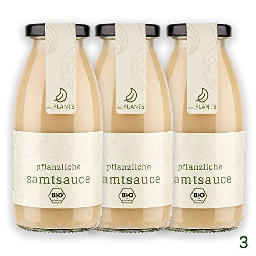 eatPLANTS vegane 100% BIO Samtsauce im Glas – 3x 250 ml Gläser rein pflanzliche Grundsauce ohne Zusatzstoffe zum Kochen oder für Braten