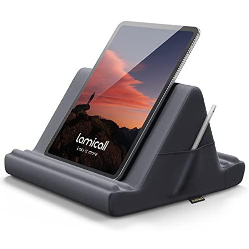 Lamicall Soporte de Almohada para Tablet - Almohada Soporte Sofá Cama para 2021 iPad Pro 9.7, 10.5, 12.9, iPad Air 2 3 4, iPad Mini 1 2 3 4, Switch, Samsung Tab, iPhone, Otras Tablets - Gris