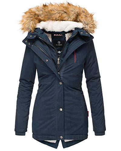 Marikoo Damen Winter Jacke Parka Kurz Mantel Teddyfell Fellkragen Jacke AKR (XS, Blau)