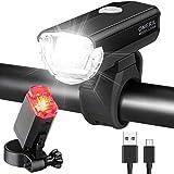 OMERIL Fahrradlicht Set Aluminium LED Fahrradlichter StVZO-Zulassung Fahrradbeleuchtung USB...