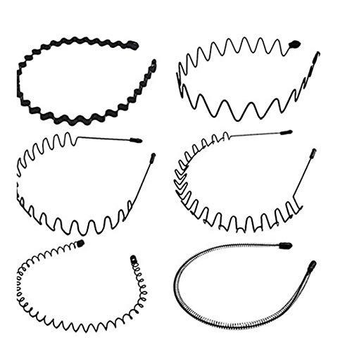 TOCYORIC 6 Stück Unisex Schwarz Welle Metall Stirnband Haarbänder Haarreifen Haarschmuck Stirnband Damen Herren Rutschfestes Elastisches Haarbänder Stirnband Zubehör für Outdoor Sports Yoga