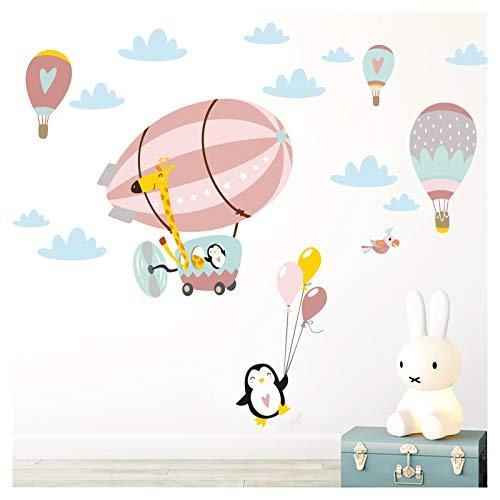 Little Deco Adhesivo decorativo para pared, diseño de jirafa en el zeppelin con globos I L – 151 x 79 cm (ancho x alto), salmón, gris y rosa