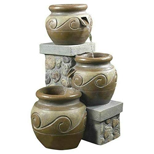 Moon_Daughter 3 Tier Pots Jugs Water Fountain with Pump Garden Patio Decor Stone Wall Home Outdoor