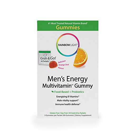 Rainbow Light - Men's Energy Multivitamin Gummy - Provides Antioxidants and Probiotics, Supports Energy, Immunity, and Digestion in Men - 30-Pack Box
