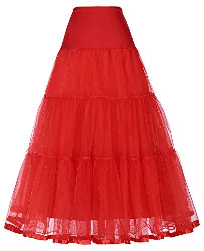 Net Bridal Crinoline Petticoat for Wedding Dress (S,Red)
