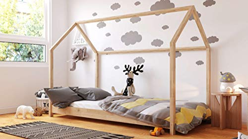 Cama Casita Montessori 90x200 80x180 80x160 - Cama Cabaña - Cama Infantil - Para Niños y Niñas - Madera de Pino Natural - 160x80 - Pino