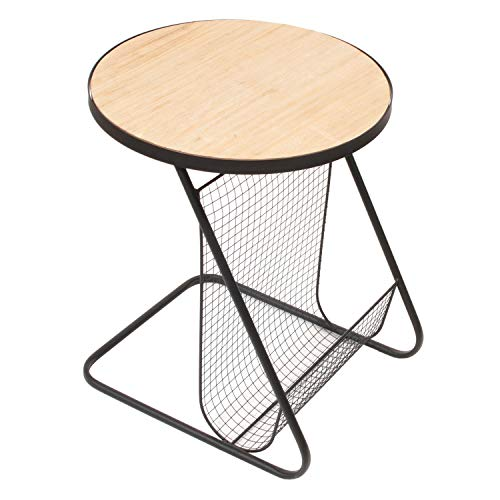The Home Deco Factory HD6171 tafel, rond, tijdschriftenverzamelaar, ijzer, beige, zwart, 41 x 41 x 48 cm