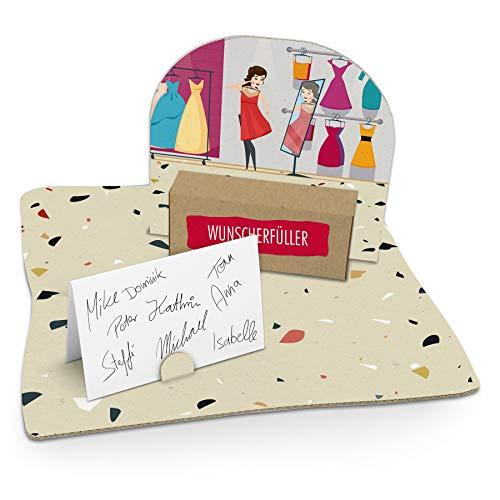 itenga Shopping Geldgeschenk Gastgeschenk Verpackung Einkaufen Gutschein mit Bodenplatte, Geschenkkarte und Stickerbogen