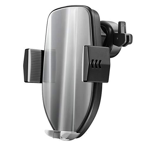 HaiQianXin autolader, automatische bevestiging, 10 W, snel opladen, draadloos, oplader, ventilatie, telefoonhouder 360 graden draaibaar, montagebeugel (kleur: zilverkleurig)