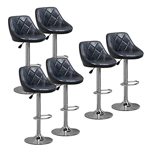 DAKEUR 6 x taburetes de Bar Azul Brillante para cocinas, sillas de Taburete Ajustable de Cuero sintético con Respaldo y reposapiés para Barra de Desayuno, Barra de Desayuno, Comedor, taburetes de b