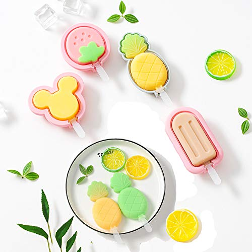 Silicone Popsicle Molds, 4 Pack Ice Cream Mold Reusable Soft Silicone Pop Maker with Lid Popsicle Sticks, Easy Release BPA Free Molds Pink (Size1)