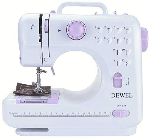 DEWEL Machine à Coudre Portable Ajustables Multifonction Fil et Vitesse Double avec Bobine de Fil Canette Pédale pour Débutant en Couture
