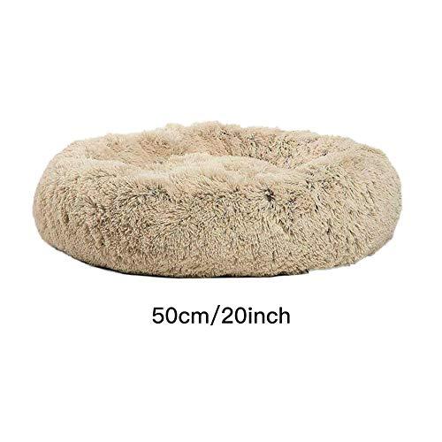 lembrd hondenkussen voor katten en kleine tot middelgrote honden knuffelig met zacht kussen rond of ovaal nestholle/bed voor huisdieren in donutvorm, 50cm, Lichte koffie.