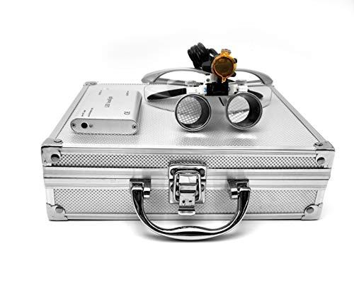 Doc.Royal 3.5X 420mm Working Distance Optical Glass Surgical Binocular Loupes + 3W LED Head Light Lamp+Aluminum Box (Silver))