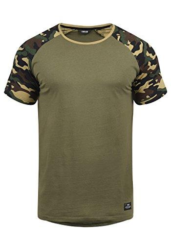 !Solid Cahil Herren T-Shirt Kurzarm Shirt Mit Rundhalsausschnitt Und Camouflage-Muster, Größe:L, Farbe:Dusty Oliv (3784)