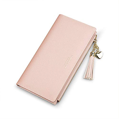 Wallets for Women Leather Cell Phone Case Holster Bag Long Slim Credit Card Holder Cute Minimalist Coin Purse Thin Large Capacity Zip Clutch Handbag Wallet for Girls Ladies (Pink)