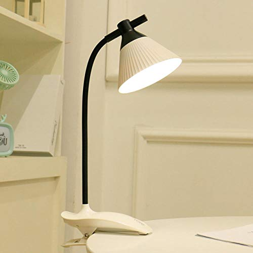 Lámpara de mesa Lámpara de lectura LED USB Recargable Plegable Flexo Clamp Light Dormitorio Lámpara de cama blanca-7x13.5x40cm