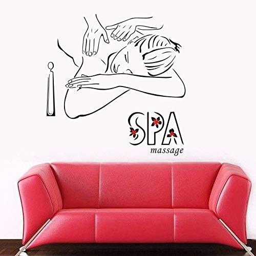 ASFGA Modemassage Aufkleber Schönheitssalon Aufkleber Spa Schönheit Poster Vinyl Wandtattoo Club Bad Mitte dekorative Wandbild 80x80cm