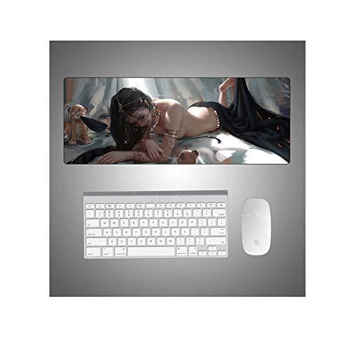 IGZNB Mousepad Animation Sexy Schönheit Persönlichkeit Lange Cartoon Tablemat Super Rat Tablemat 900X400Mm Rutschfeste Hohe Und Niedrige Temperaturbeständigkeit, E