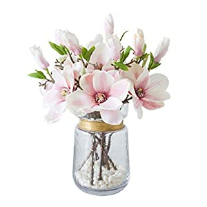 WYWY Magnolia Artificial Flowers Silk Flowers Fake Flower Vase Set for Wedding Home Decoration Party Accessory