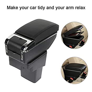 cciyu Armrest Center Console Box + Base Black Armrest Covers Replacement fit for 2010-2015 for Nissan Juke