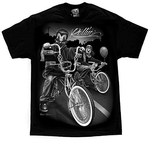 Cruising Lowrider Bike IT Clown Joker Cholo Gangster David Gonzales DGA T Shirt XX-Large Black