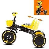 Tricycle for Enfants Poussette Enfant Poussette Bébé Vélo 1-3 Ans Vélo Pliant Bébé (Color : Yellow, Size : 70X45X50CM)