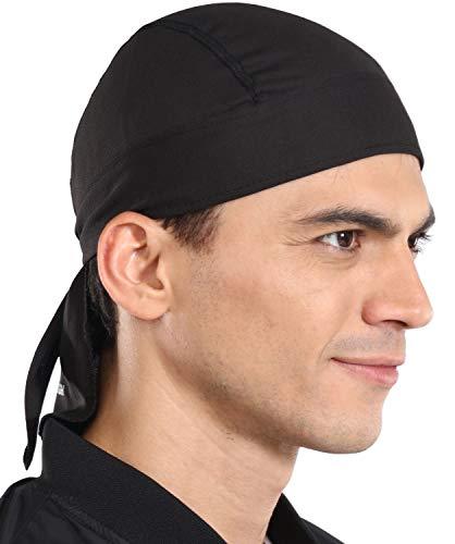 Cooling Helmet Liner - Do Rag Skull Cap for Men - Head Scarf, Bandana, Head Wrap, Beanie for Motorcycle, Cycling, Sports Black